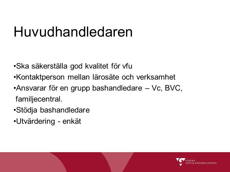 Huvudhandledaren Ska säkerställa god kvalitet för vfu Kontaktperson mellan lärosäte och verksamhet Ansvarar för en grupp bashandledare – Vc, BVC, fami