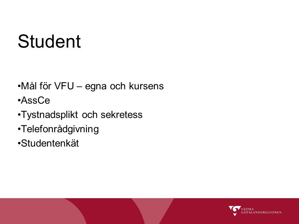 Student Mål för VFU – egna och kursens AssCe Tystnadsplikt och sekretess Telefonrådgivning Studentenkät