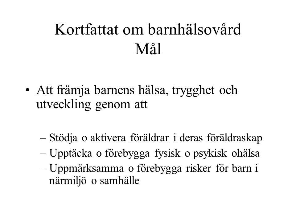 Kortfattat om barnhälsovård i Sverige Ca 2000 BVC/enheter Ca 99% av barn <2 år besöker BVC Ca 15-20 BVC-besök per barn under första levnadsåret