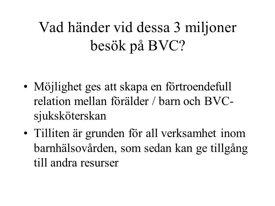 Vad händer vid dessa 3 miljoner besök på BVC? Möjlighet ges att skapa en förtroendefull relation mellan förälder / barn och BVC- sjuksköterskan Tillit