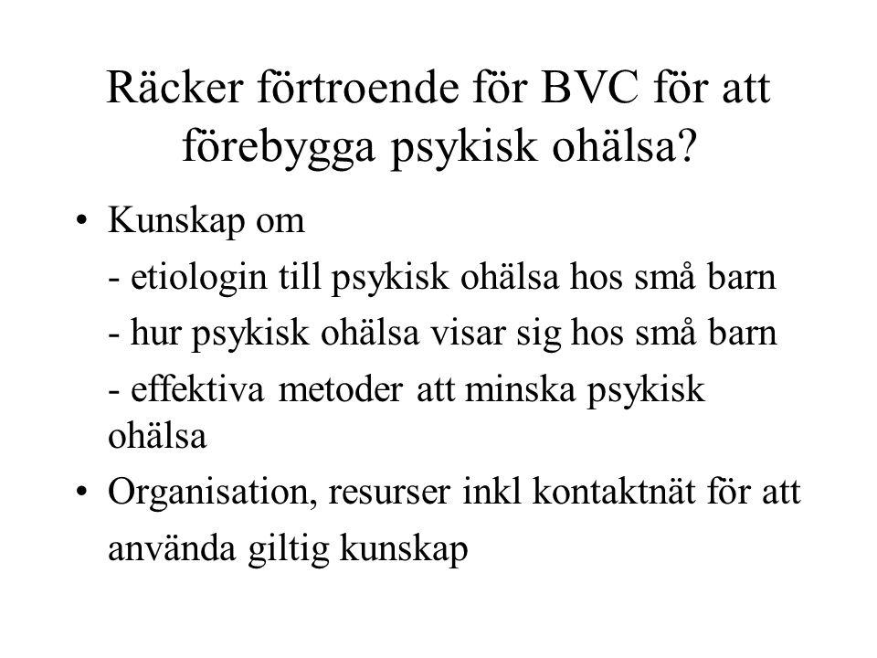 Räcker förtroende för BVC för att förebygga psykisk ohälsa? Kunskap om - etiologin till psykisk ohälsa hos små barn - hur psykisk ohälsa visar sig hos
