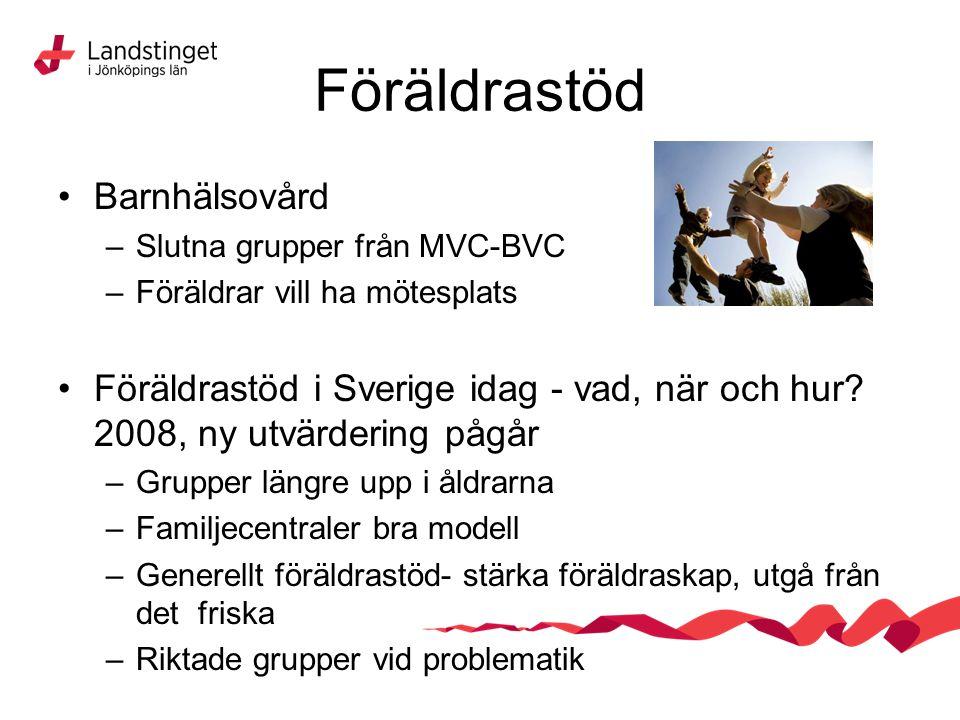 Föräldrastöd Barnhälsovård –Slutna grupper från MVC-BVC –Föräldrar vill ha mötesplats Föräldrastöd i Sverige idag - vad, när och hur? 2008, ny utvärde