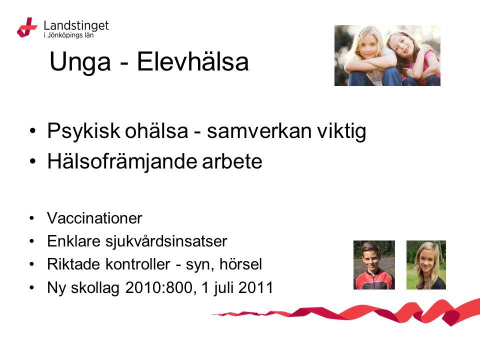 Unga - Elevhälsa Psykisk ohälsa - samverkan viktig Hälsofrämjande arbete Vaccinationer Enklare sjukvårdsinsatser Riktade kontroller - syn, hörsel Ny skollag 2010:800, 1 juli 2011