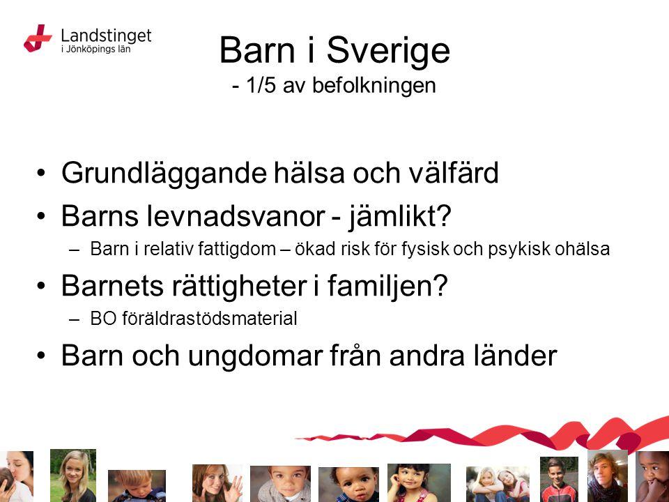 Barn i Sverige - 1/5 av befolkningen Grundläggande hälsa och välfärd Barns levnadsvanor - jämlikt? –Barn i relativ fattigdom – ökad risk för fysisk oc