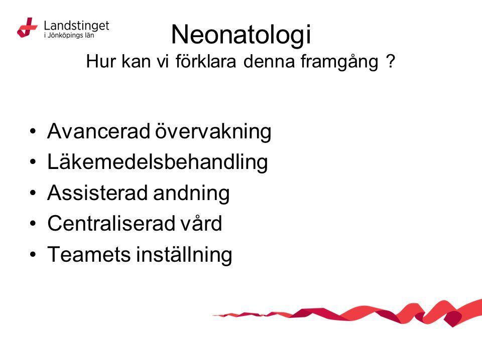 Neonatologi Hur kan vi förklara denna framgång ? Avancerad övervakning Läkemedelsbehandling Assisterad andning Centraliserad vård Teamets inställning