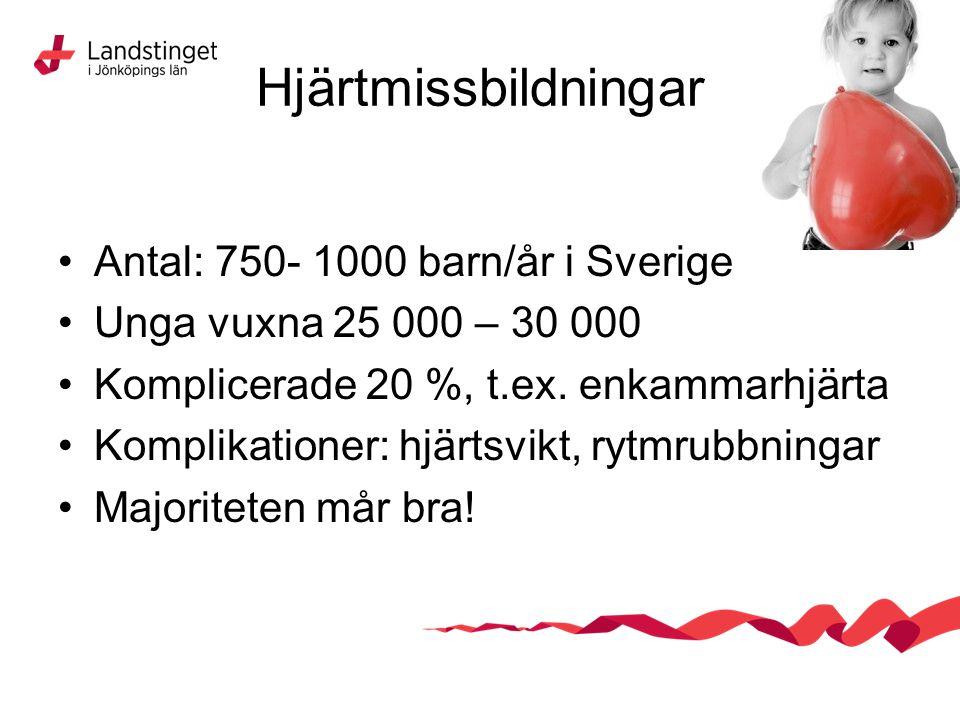 Hjärtmissbildningar Antal: 750- 1000 barn/år i Sverige Unga vuxna 25 000 – 30 000 Komplicerade 20 %, t.ex. enkammarhjärta Komplikationer: hjärtsvikt,