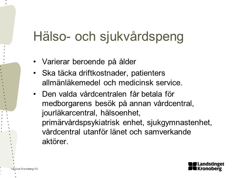 Vårdval Kronoberg /10 Hälso- och sjukvårdspeng Varierar beroende på ålder Ska täcka driftkostnader, patienters allmänläkemedel och medicinsk service.