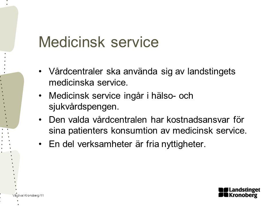Vårdval Kronoberg /11 Medicinsk service Vårdcentraler ska använda sig av landstingets medicinska service.