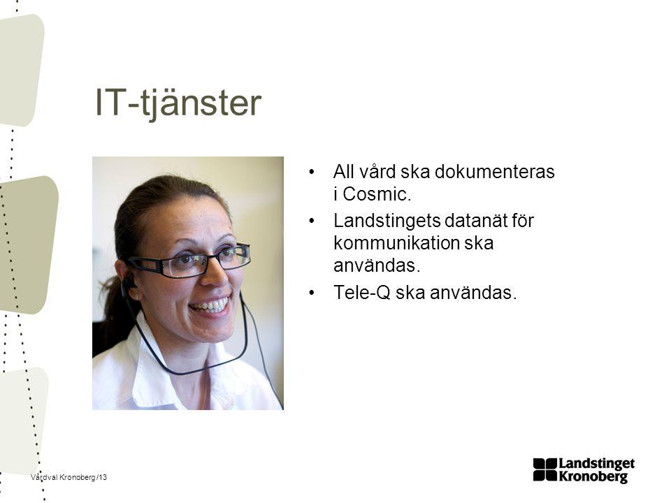 Vårdval Kronoberg /13 IT-tjänster All vård ska dokumenteras i Cosmic.