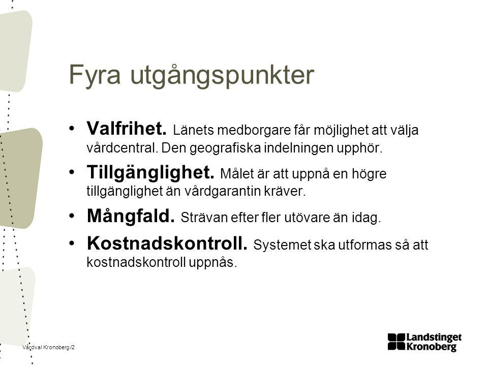 Vårdval Kronoberg /2 Fyra utgångspunkter Valfrihet.