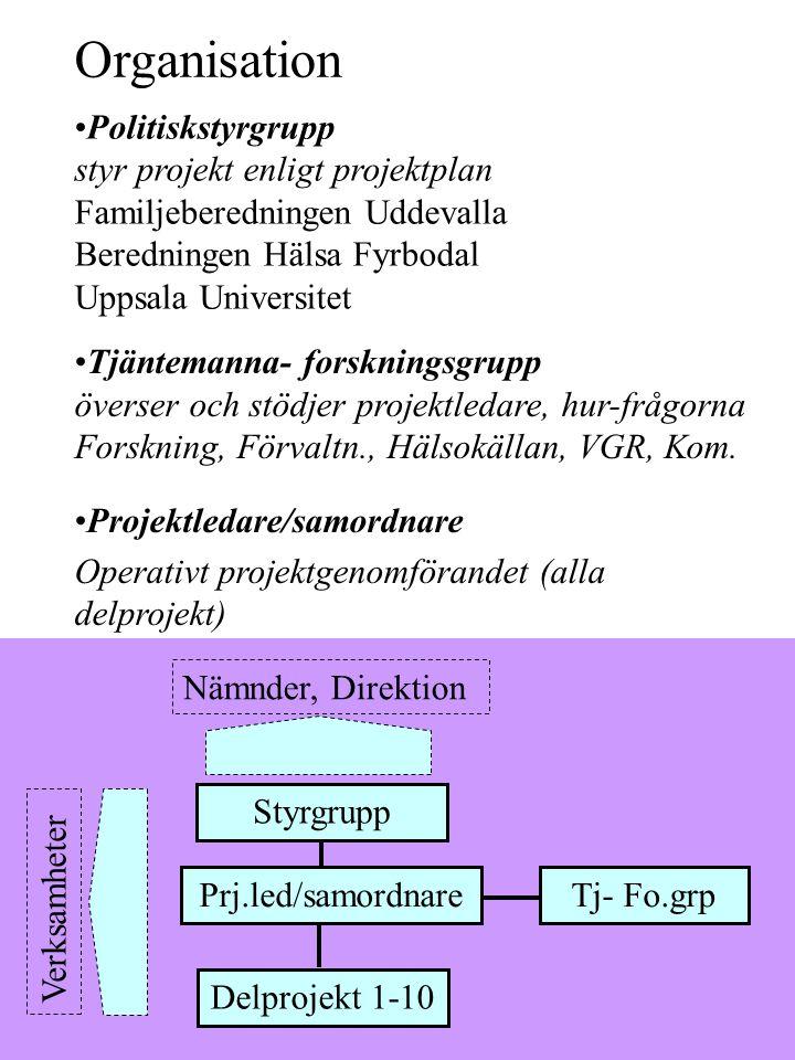 Politiskstyrgrupp styr projekt enligt projektplan Familjeberedningen Uddevalla Beredningen Hälsa Fyrbodal Uppsala Universitet Projektledare/samordnare