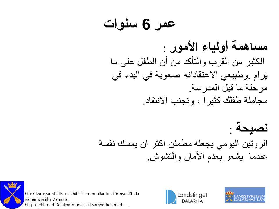 Effektivare samhälls- och hälsokommunikation för nyanlända på hemspråk i Dalarna. Ett projekt med Dalakommunerna i samverkan med……. عمر 6 سنوات مساهمة