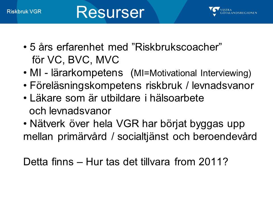 """Riskbruk VGR Resurser 5 års erfarenhet med """"Riskbrukscoacher"""" för VC, BVC, MVC MI - lärarkompetens ( MI=Motivational Interviewing) Föreläsningskompete"""