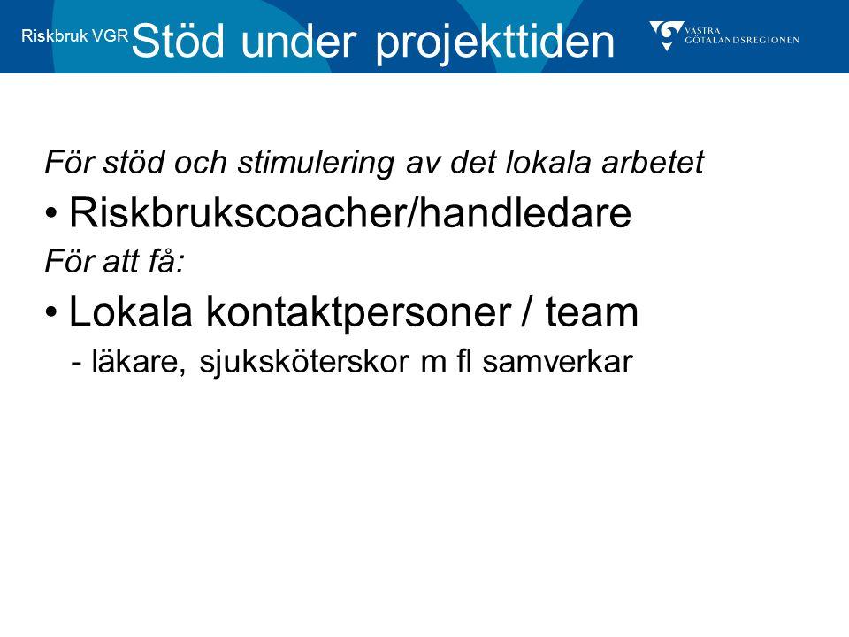Riskbruk VGR Stöd under projekttiden För stöd och stimulering av det lokala arbetet Riskbrukscoacher/handledare För att få: Lokala kontaktpersoner / t