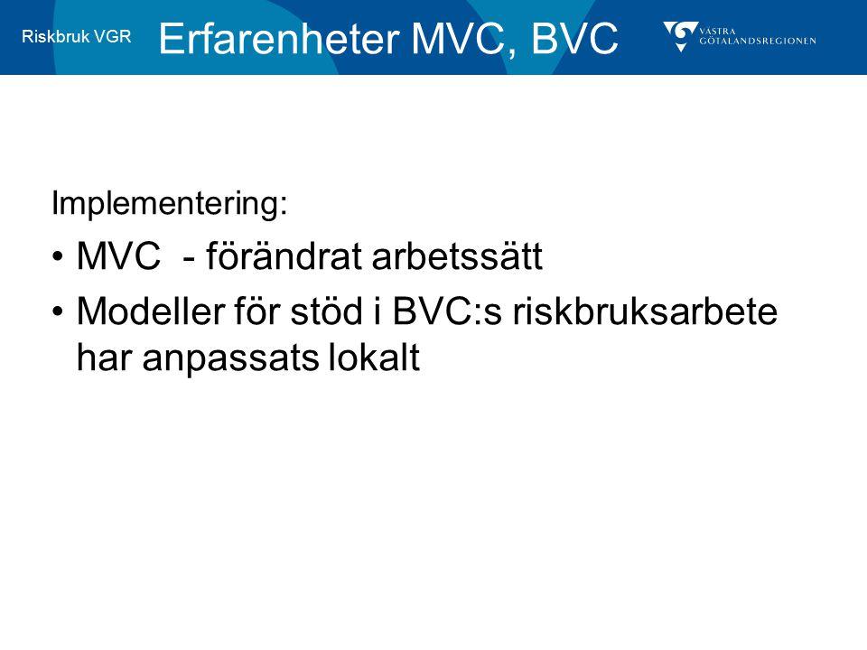 Riskbruk VGR Erfarenheter MVC, BVC Implementering: MVC - förändrat arbetssätt Modeller för stöd i BVC:s riskbruksarbete har anpassats lokalt
