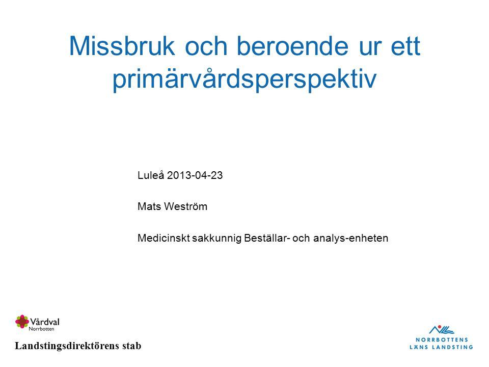 Landstingsdirektörens stab Missbruk och beroende ur ett primärvårdsperspektiv Luleå 2013-04-23 Mats Weström Medicinskt sakkunnig Beställar- och analys