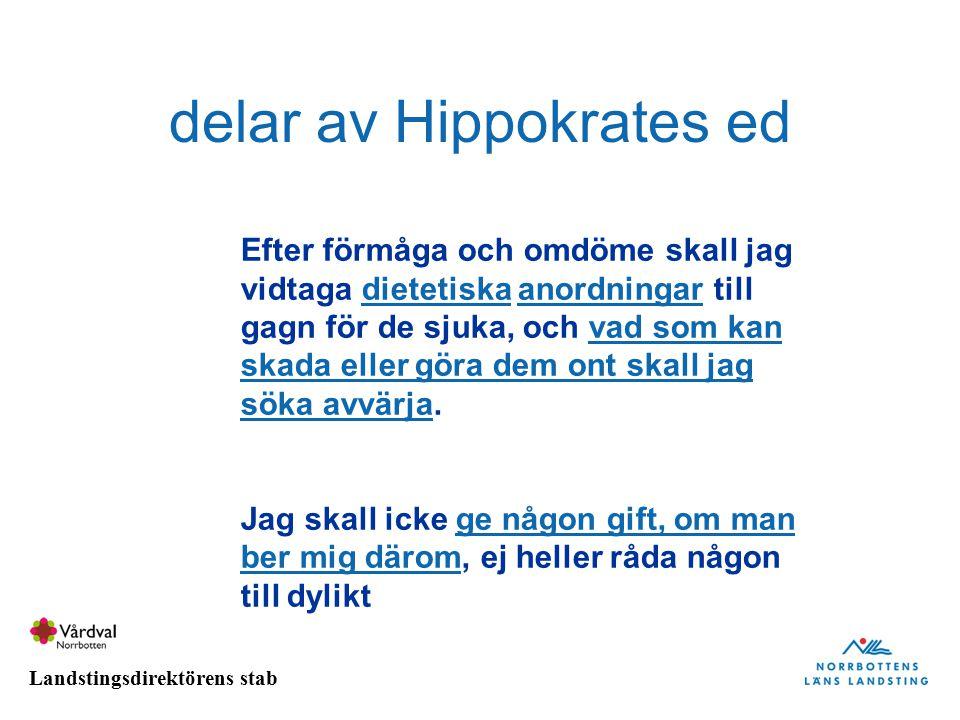 Landstingsdirektörens stab delar av Hippokrates ed Efter förmåga och omdöme skall jag vidtaga dietetiska anordningar till gagn för de sjuka, och vad s