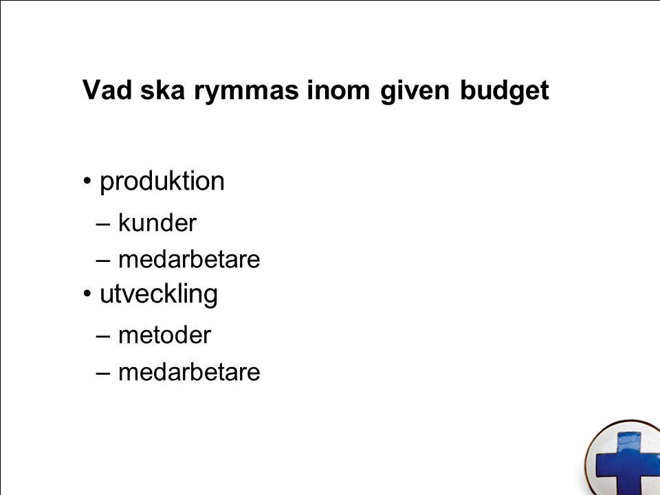 produktion –kunder –medarbetare utveckling –metoder –medarbetare Vad ska rymmas inom given budget