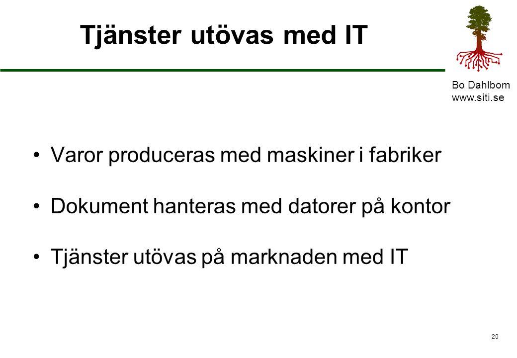 Bo Dahlbom www.siti.se 21 Från system till tjänster Från produktion till sälj Maskiner, Datorer, IT Fabrikssamhället – system Marknadssamhället – tjänster
