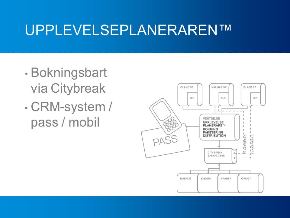 UPPLEVELSEPLANERAREN™ Bokningsbart via Citybreak CRM-system / pass / mobil