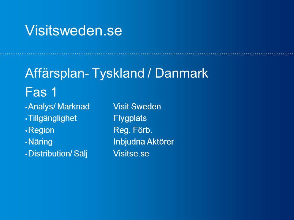 Visitsweden.se Affärsplan- Tyskland / Danmark Fas 1 Analys/ MarknadVisit Sweden TillgänglighetFlygplats RegionReg.