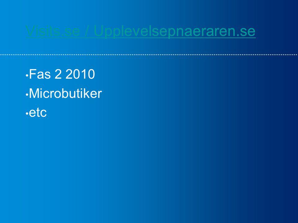 Visits.se / Upplevelsepnaeraren.se Fas 2 2010 Microbutiker etc