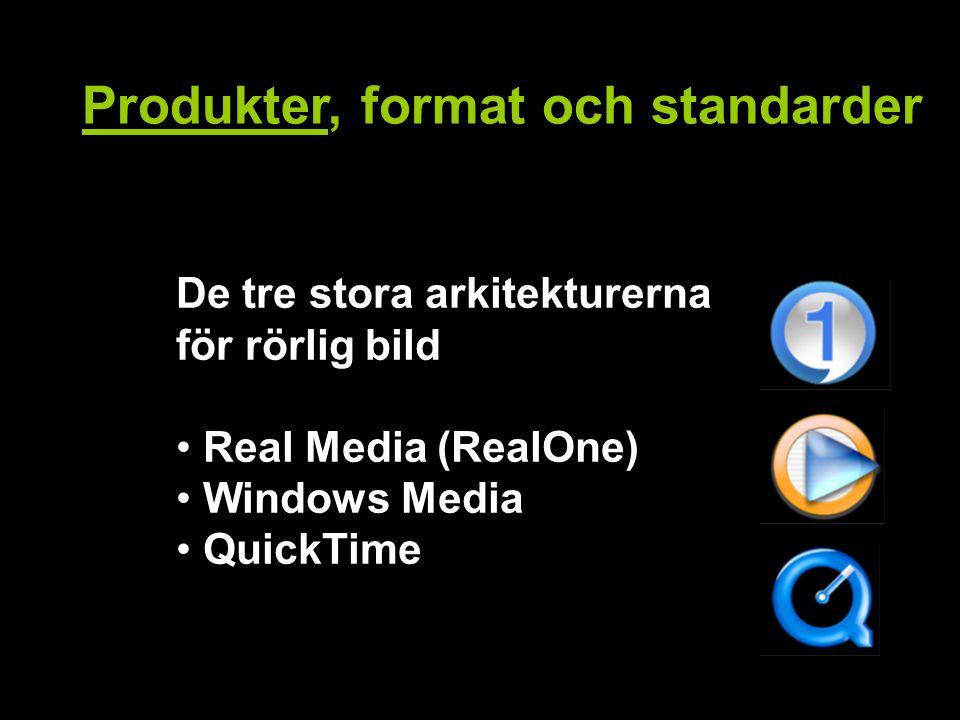 Produkter, format och standarder De tre stora arkitekturerna för rörlig bild Real Media (RealOne) Windows Media QuickTime