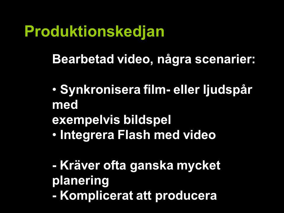 Produktionskedjan Bearbetad video, några scenarier: Synkronisera film- eller ljudspår med exempelvis bildspel Integrera Flash med video - Kräver ofta ganska mycket planering - Komplicerat att producera