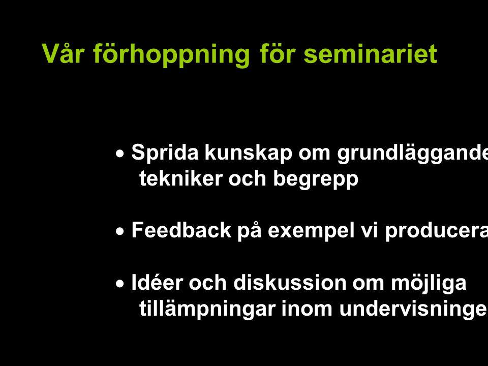 Vår förhoppning för seminariet  Sprida kunskap om grundläggande tekniker och begrepp  Feedback på exempel vi producerat  Idéer och diskussion om möjliga tillämpningar inom undervisningen