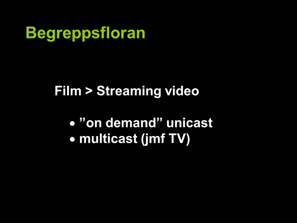 Begreppsfloran Film > Streaming video  on demand unicast  multicast (jmf TV)