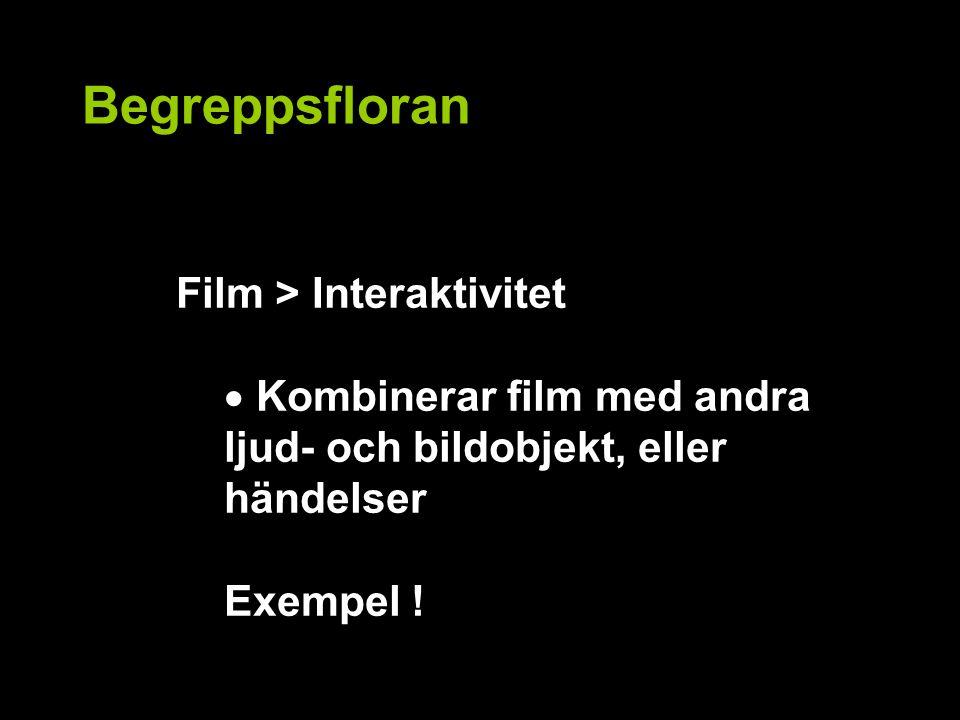 Begreppsfloran Film > Interaktivitet  Kombinerar film med andra ljud- och bildobjekt, eller händelser Exempel !