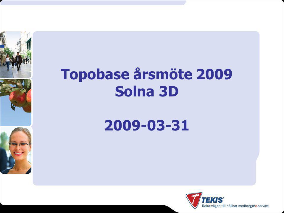 Topobase 2009 - Övrigt DisplayModeller –Svårigheter när samma objektklass finns i flera dokument –AutoCAD-defintioner (linjer, symboler) fungerar inte tillfredställande –Lång legend (collapse & expand) –Filbaserat, inte i databasen