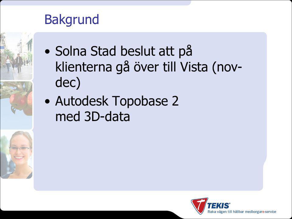 Bakgrund Solna Stad beslut att på klienterna gå över till Vista (nov- dec) Autodesk Topobase 2 med 3D-data