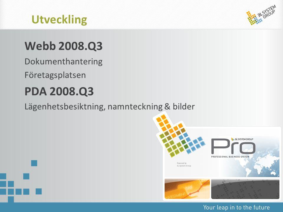 Webb 2008.Q3 Dokumenthantering Företagsplatsen PDA 2008.Q3 Lägenhetsbesiktning, namnteckning & bilder Utveckling