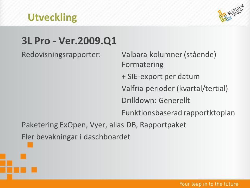 3L Pro - Ver.2009.Q1 Redovisningsrapporter: Valbara kolumner (stående) Formatering + SIE-export per datum Valfria perioder (kvartal/tertial) Drilldown