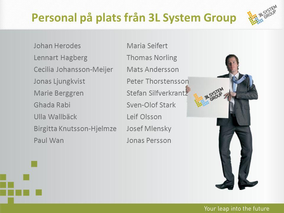 Personal på plats från 3L System Group Johan Herodes Lennart Hagberg Cecilia Johansson-Meijer Jonas Ljungkvist Marie Berggren Ghada Rabi Ulla Wallbäck