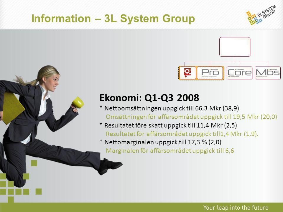 Ekonomi: Q1-Q3 2008 * Nettoomsättningen uppgick till 66,3 Mkr (38,9) Omsättningen för affärsområdet uppgick till 19,5 Mkr (20,0) * Resultatet före ska