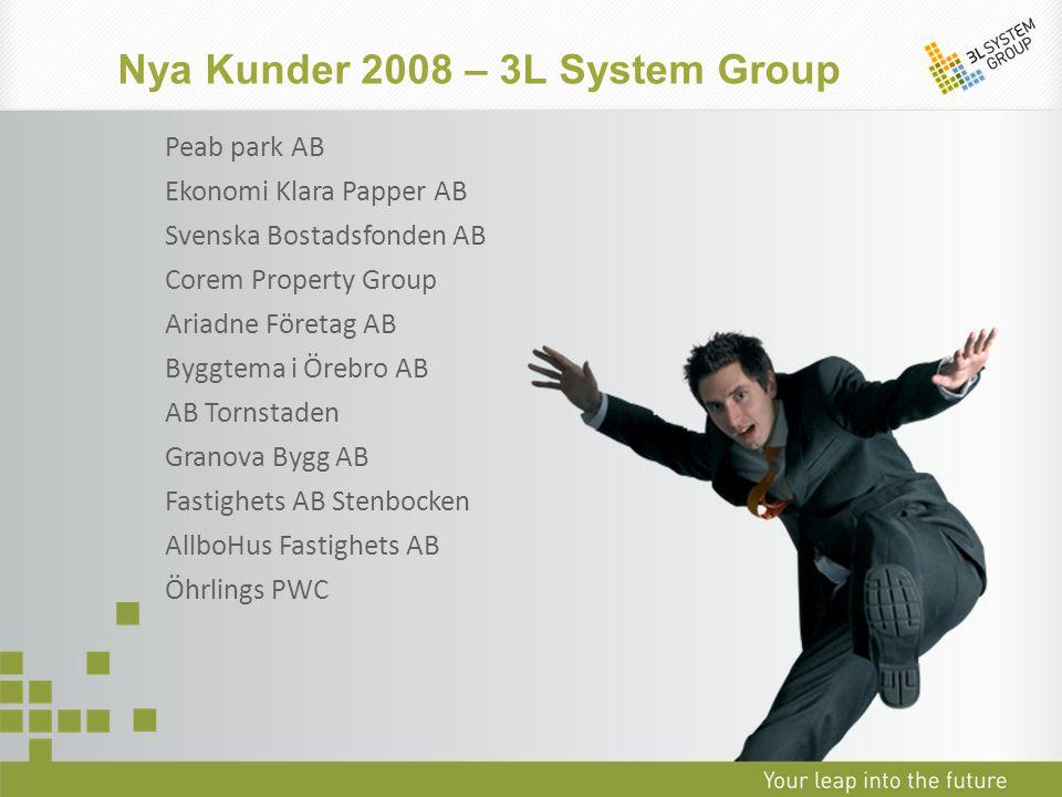 Nya Kunder 2008 – 3L System Group Peab park AB Ekonomi Klara Papper AB Svenska Bostadsfonden AB Corem Property Group Ariadne Företag AB Byggtema i Öre