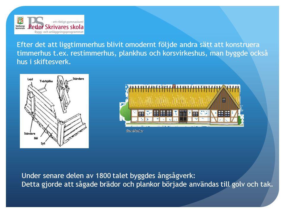 Efter det att liggtimmerhus blivit omodernt följde andra sätt att konstruera timmerhus t.ex. restimmerhus, plankhus och korsvirkeshus, man byggde ocks