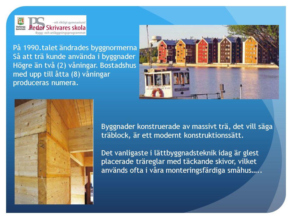 På 1990.talet ändrades byggnormerna Så att trä kunde använda i byggnader Högre än två (2) våningar. Bostadshus med upp till åtta (8) våningar producer