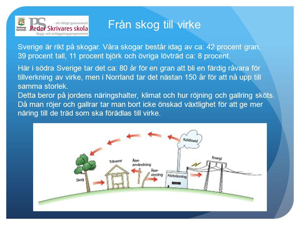 Från skog till virke Sverige är rikt på skogar. Våra skogar består idag av ca: 42 procent gran, 39 procent tall, 11 procent björk och övriga lövträd c