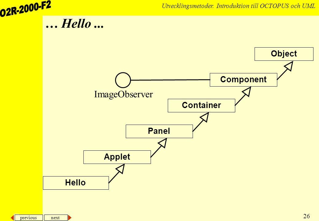 previous next 26 Utvecklingsmetoder.Introduktion till OCTOPUS och UML … Hello...