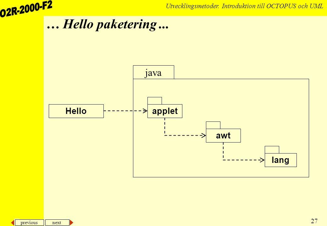 previous next 27 Utvecklingsmetoder.Introduktion till OCTOPUS och UML java … Hello paketering...