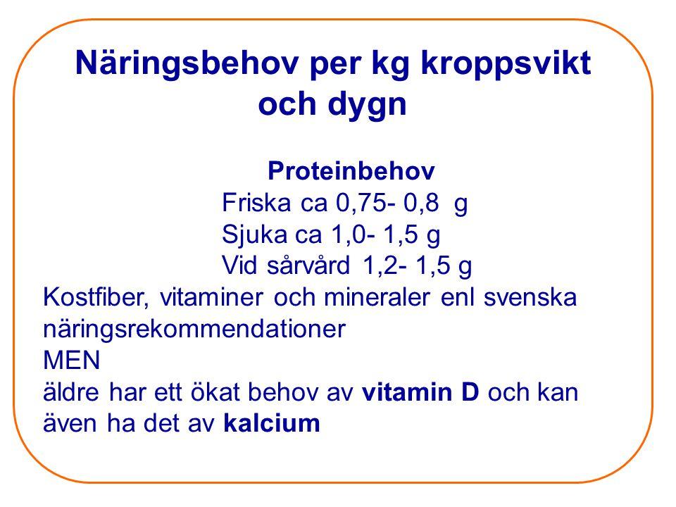 Näringsbehov per kg kroppsvikt och dygn Proteinbehov Friska ca 0,75- 0,8 g Sjuka ca 1,0- 1,5 g Vid sårvård 1,2- 1,5 g Kostfiber, vitaminer och mineral