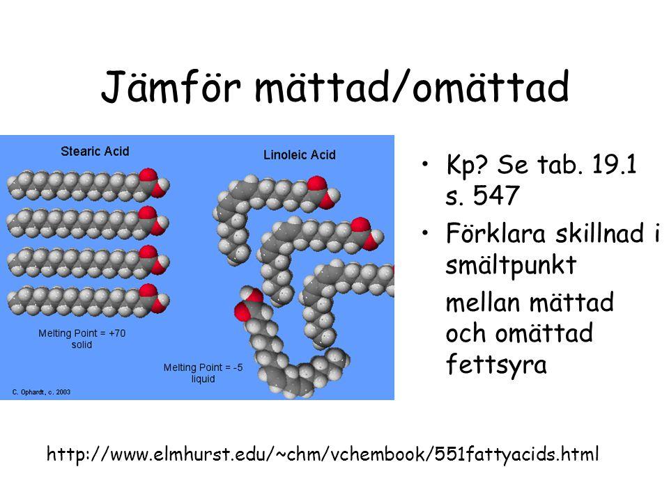 Jämför mättad/omättad Kp.Se tab. 19.1 s.
