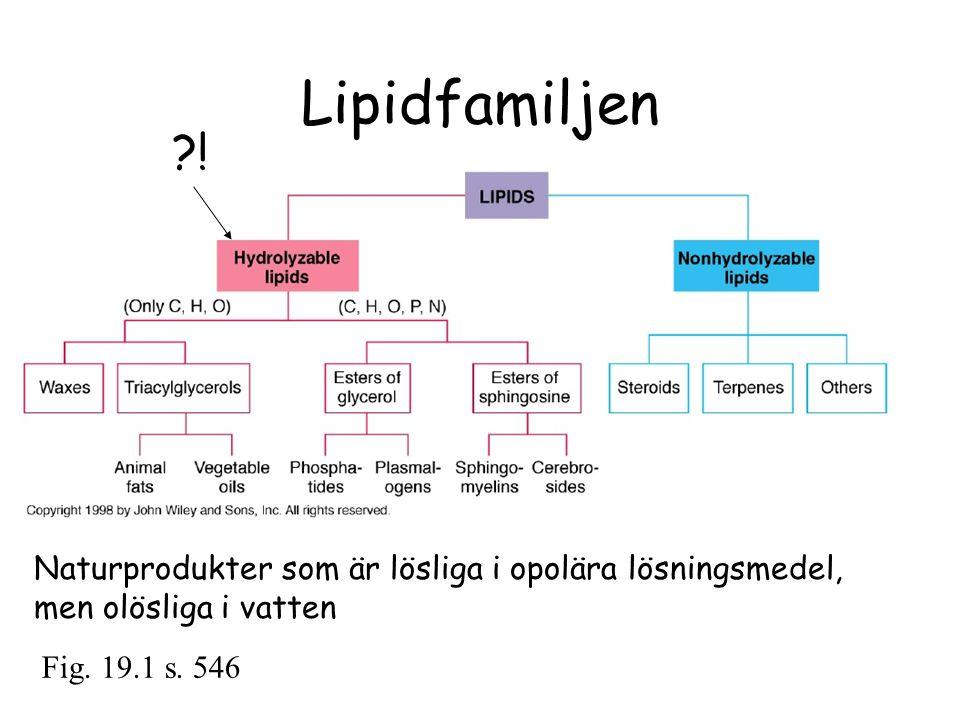Lipidfamiljen Fig. 19.1 s. 546 ?! Naturprodukter som är lösliga i opolära lösningsmedel, men olösliga i vatten