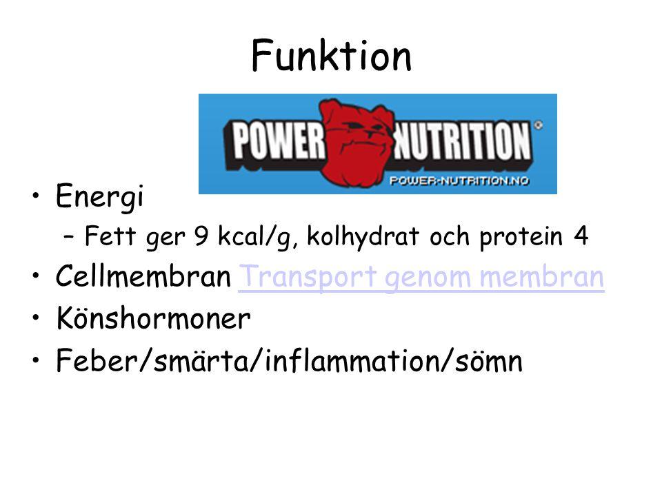 Funktion Energi –Fett ger 9 kcal/g, kolhydrat och protein 4 Cellmembran Transport genom membranTransport genom membran Könshormoner Feber/smärta/inflammation/sömn