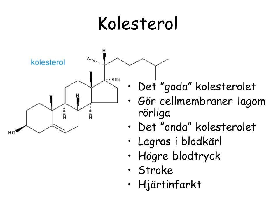 Kolesterol Det goda kolesterolet Gör cellmembraner lagom rörliga Det onda kolesterolet Lagras i blodkärl Högre blodtryck Stroke Hjärtinfarkt