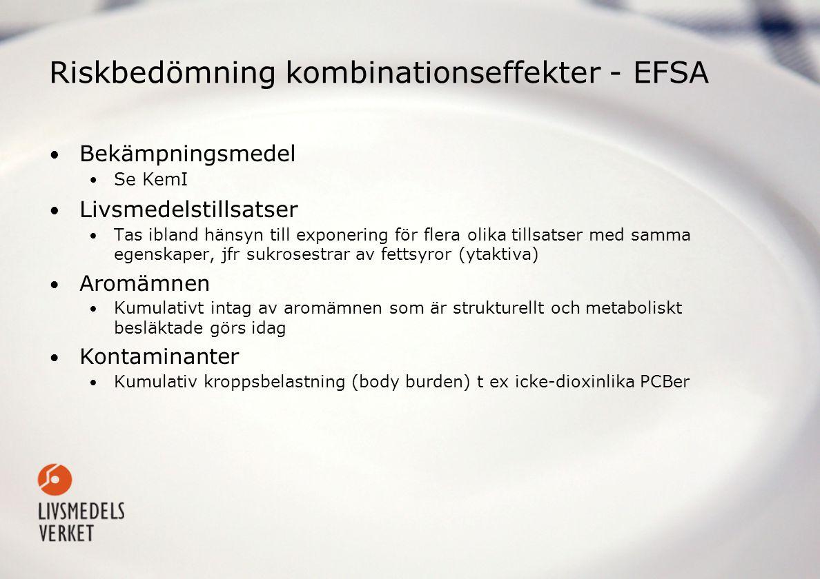Riskbedömning kombinationseffekter - EFSA Bekämpningsmedel Se KemI Livsmedelstillsatser Tas ibland hänsyn till exponering för flera olika tillsatser med samma egenskaper, jfr sukrosestrar av fettsyror (ytaktiva) Aromämnen Kumulativt intag av aromämnen som är strukturellt och metaboliskt besläktade görs idag Kontaminanter Kumulativ kroppsbelastning (body burden) t ex icke-dioxinlika PCBer