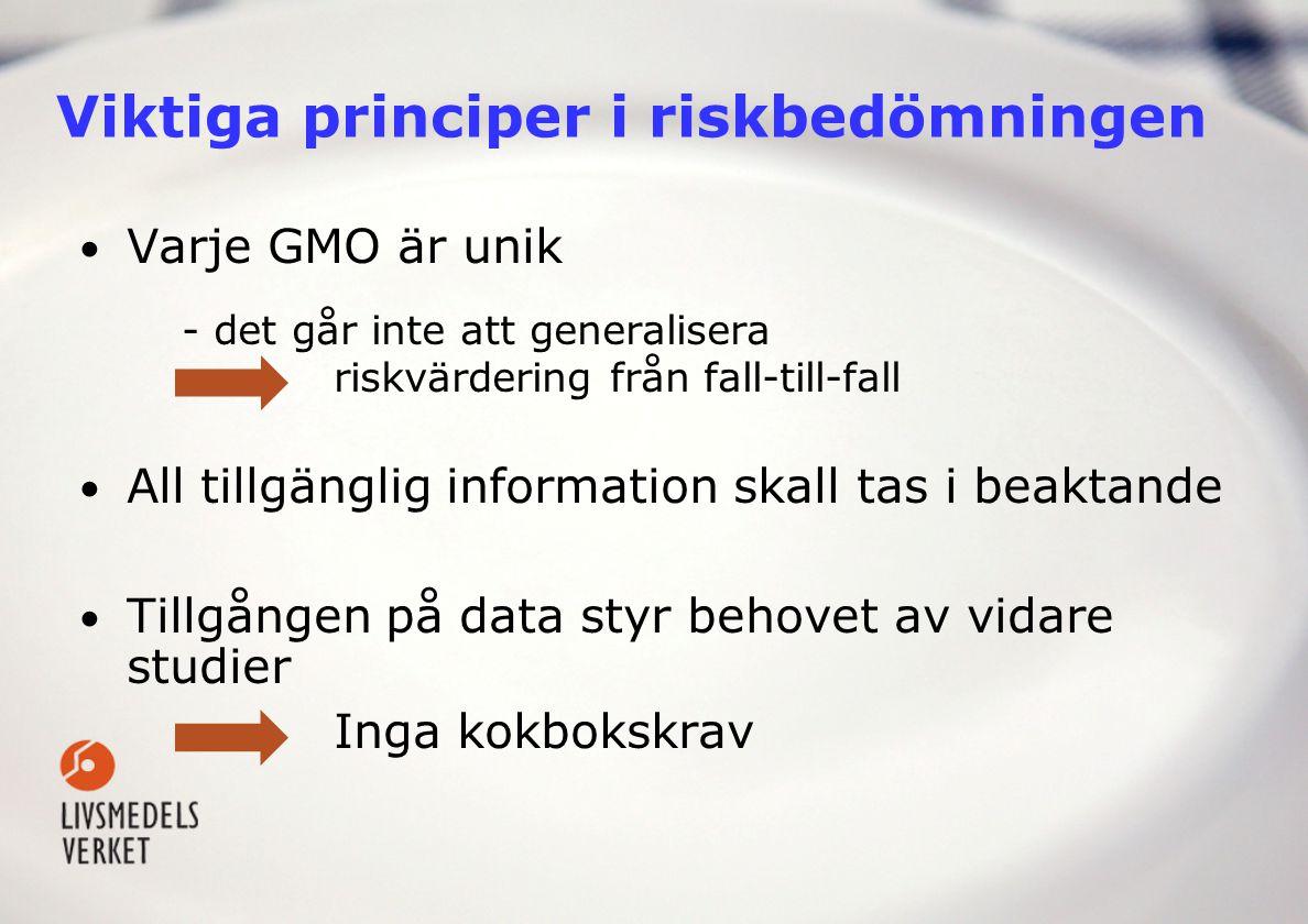 Viktiga principer i riskbedömningen Varje GMO är unik - det går inte att generalisera riskvärdering från fall-till-fall All tillgänglig information sk